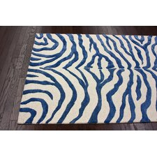 Earth Royal Blue/Beige Radiant Zebra Area Rug