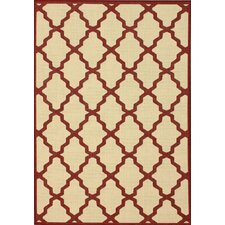 Villa Outdoor Red Trellis Rug