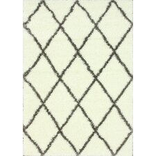 Shag Brown & White Plush Area Rug