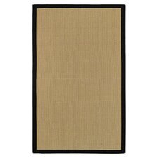 Natural Jute Cotton Border Black/Beige Area Rug