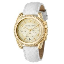 Women's White Leather Strap Watch