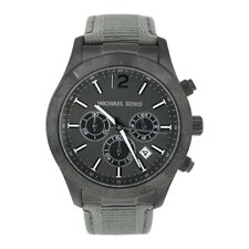 Men's Classic Canvas Strap Watch with Black Chronograph Dial