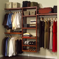 "Deluxe 16"" Deep Closet Organizer Set in Red Mahogany"