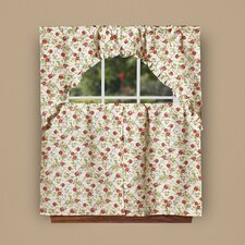 "European Orchards Fruits Vintage Print 60"" Kitchen Valance and Tier Set"