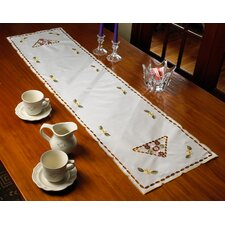 Orchid Embroidered Vintage Design Table Runner