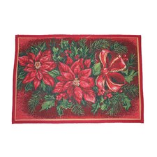 Seasonal Poinsettia Design Red Novelty Rug