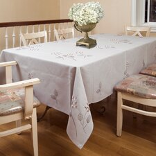 <strong>Violet Linen</strong> Hydrangeas Embroidered Flower Design Tablecloth