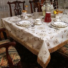 Legacy Floral Damask Fringes Design Tablecloth