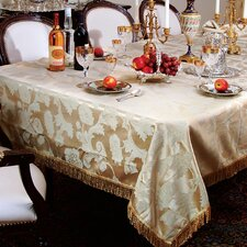 <strong>Violet Linen</strong> Classic Damask Design Fringes Tablecloth