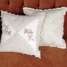 Braided Crochet Stars / Floral Design Throw Pillow