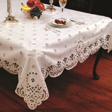 <strong>Violet Linen</strong> Daisy Design Tablecloth with Cutwork