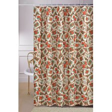 European Christmas PoinSettia Floral Design Printed Shower Curtain