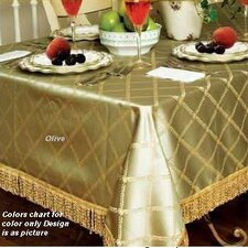 <strong>Violet Linen</strong> Diamond Damask Design Fringes Tablecloth