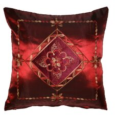 <strong>Violet Linen</strong> Silky Indiana Embroidered Velvet Diamond Decorative Throw Pillow