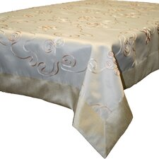 Emerald Embroidered Peach Ribbon Design Tablecloth