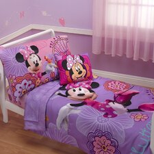 Minnie's Fluttery Friends 4 Piece Toddler Bedding Set