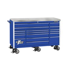 "72"" 17 Drawer Triple Bank Professional Roller Cabinet in Blue"