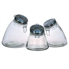 Slope 3 Piece Jar with Stainless Steel Lid (Set of 3)