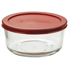 4 Cup Round Kitchen Storage Container with Red Lid