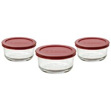 Round Kitchen Storage Container Set with Red Lids (Set of 3)