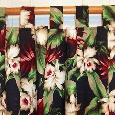 Orchids Cotton Tab Top Curtain Single Panel