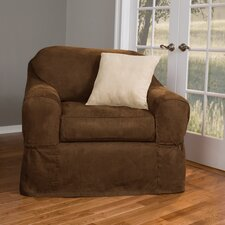 <strong>Maytex</strong> Piped Faux Suede Separate Seat Chair Slipcover
