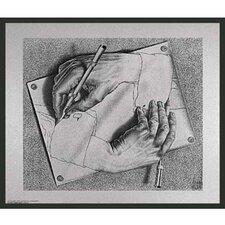 'Framed Escher Drawing Hands' by Escher Framed Painting Print