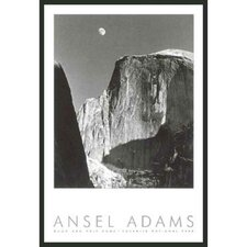 "Moon and Half Dome Framed Print by Ansel Adams - 36"" x 24"""