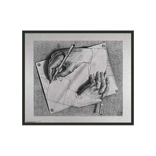 "Framed Escher Drawing Hands by Escher Framed Print - 21.75"" x 25.5"""