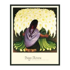 'The Flower Seller' by Rivera Framed Painting Print
