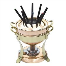M'tradition Cupretam Tinned Copper Fondue Set with Bronze Handles