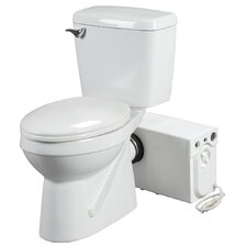 1.6 GPF Elongated Rear Discharge 2 Piece Toilet with Macerator System