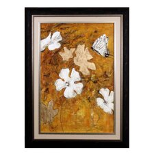 <strong>Acura Rugs</strong> White Heaven Flower Hand Painted Framed Canvas Art