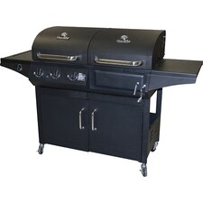 Combination Charcoal & Gas Grill with 3 Burners and Side Burner
