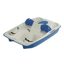 Sun Slider Five Person Pedal Boat with Adjustable Seats and Stainless Steel Package in Cream / Blue