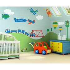 Transportation Fascination Self-Adhesive Wall Stencil Kit