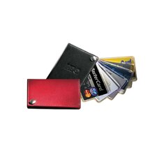 -CFan-Out Business Credit Card Holder with Contrast Stitching in Black