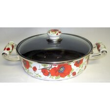 "Enamel Kitchenware 11"" Skillet with Lid"