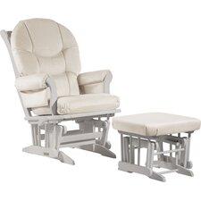 Sleigh Multiposition Recline Glider & Nursing Ottoman in White