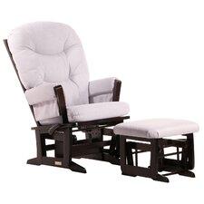 Modern Multiposition Recline Glider with Plush Cushion & Nursing Ottoman