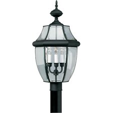 "Outdoor 3 Light 12"" Brass Post Lantern"