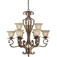 <strong>Forte Lighting</strong> 9 Light Chandelier with Umber Glass Shades