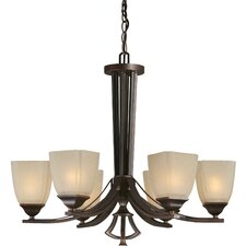 6 Light Chandelier with Umber Linen Glass Shades