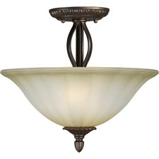 <strong>Forte Lighting</strong> 2 Light Semi Flush Mount - Umber Mist Glass Shade