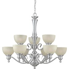 <strong>Forte Lighting</strong> 9 Light Chandelier with Umber Linen Glass Shades