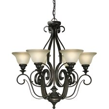 <strong>Forte Lighting</strong> 6 Light Chandelier with Umber Glass Shades