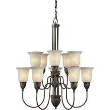 <strong>Forte Lighting</strong> 10 Light Chandelier with Mica Shade