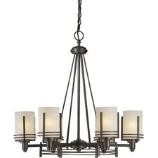 <strong>Forte Lighting</strong> 6 Light Chandelier with Umber Linen Glass Shades
