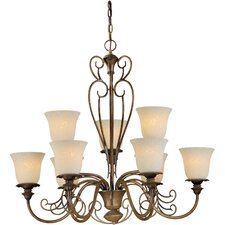 9 Light Chandelier with Tapioca Shades