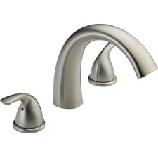 Classic Double Handle Deck Mount Roman Tub Faucet